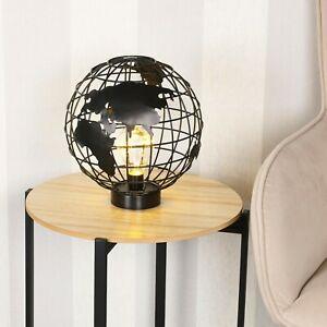 Black Metal Tabletop Lamp Globe Shaped LED Desktop Lighting Home Decor Novelty
