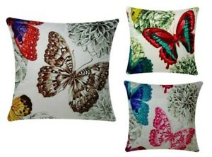 Butterflies Print with Mint Green Background Chenille Cotton 17x17 Cushion Cover