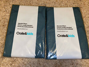 2 Crate & Kids and Barrel Standard Pillow Sham~BL Scallop Blue Decorative NEW