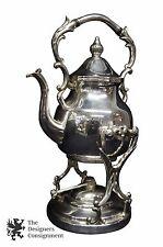 Antique CT Birmingham Silver on Copper Coffee Teapot Burner Warming Stand Tilts