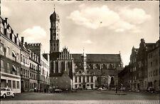 Augsburg Bayern alte Postkarte ~1950/60 Partie am Ulrichsplatz Kirche alte Autos