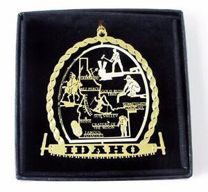 Idaho Brass Ornament State Landmarks Black Leatherette Gift Box