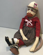 Vintage 30's 40's Sock Monkey Millinery Flowers Oil Cloth Doll Shoes