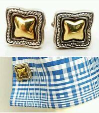 David Yurman Men's Cufflinks Classic Cable DY Logo 925 Sterling Silver / 18K