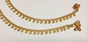 NEW 22CT GOLD PLATED LEAF ARRIVAL INDIAN PAKISTANI PAIR OF ANKLET PAYAL CHAIN UK
