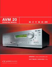 Anthem AVM 20 PreAmplifier / Processor Owner's Manual- Instructions - Full Color