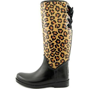 COACH TRISTEE CLASSIC ANIMAL PRINT LACE UP CORSET LOGO RAIN BOOTS I LOVE SHOES