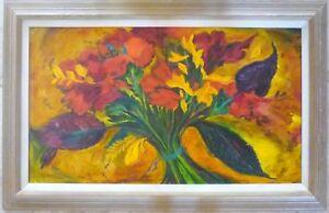 Original Mod 1962 Floral Bouquet Oil Painting LIsted Artist William Earl Singer