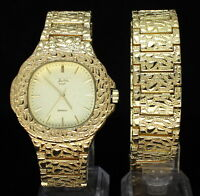 Mens Nugget Design Square Face Watch & Bracelet Set 14k Gold Plated Hip Hop