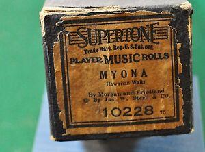 Supertone #10228 Player Piano Word Roll - Myona, Hawaiian Waltz
