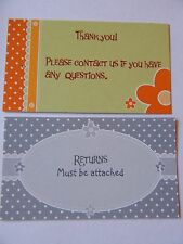 100 Merchandise Tags Cards Thank You Returns Attached Retro Tagging Clothing