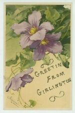 C. Klein, Clematis Greetings from Girlington Meissner 1200 Chromo Postcard, C043