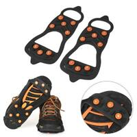 8 Studs Ice Snow Crampons Anti-slip Climbing Gripper Shoe Covers Spike Cleats US