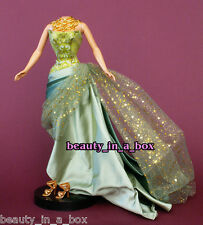 Olive Strapless Evening Gown Golden Necklace Fashion Barbie Doll Fits Silkstone