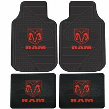Floor Mats 1994-2018 Dodge Ram LOGO 1500 2500 3500 Front & Rear Rubber Liner Red