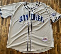 Authentic Majestic San Diego Padres MLB Baseball Jersey Sewn Sz 56 Gray