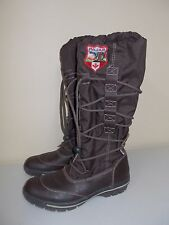 Pajar womens tall winter rain boots shoes brown drawstring patch size 36 GREAT