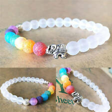 frosted 8MM Multicolor Dragon agate Beaded Bracelet Gemstone Tibet silver