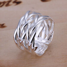 Fashion 925Sterling  Silver Jewelry Weave Men Women Party Ring Size Open R022