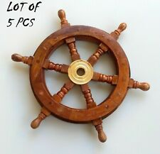 Antique Wooden Ship Wheel Home Decor Brass Boat Ship Wheel Lot of 5 Pieces