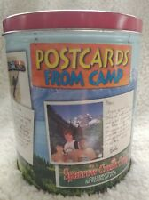 Vintage collectible Trails End Popcorn Tin.. Postcards From Camp, rare!