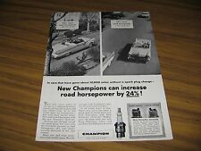 1956 Print Ad Champion Spark Plugs Ford Convertible 24% More Horsepower