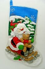 "Santa & Snowman On Sled With Bear 16"" Christmas Stocking FINISHED!"