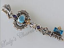 Barbara Bixby Key Pendant Blue Topaz  Amethyst Enhancer Sterling Silver 18K Gold