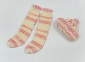 Vintage Hand Knit Socks & Sock Hat Artisan Dollhouse Miniature 1:12