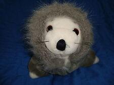 "Vintage 1988 Dakin Plush white seal in grey parka Coat 7.5"" tall x 12"" long"