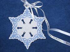 Wedgwood 2013 Pierced SnowFlake Ornament - Blue & White JasperWare - 03030 - Nib