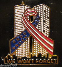 6 - Sept.11 9/11 Ribbon Around Twin Towers We Won't Forget Patriotic Lapel Pins