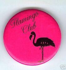 Vintage  FLAMINGO Club pin HOT PINK Art Deco pinback button