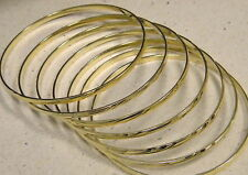 Lady's Yellow Gold Plated Bangle Bracelet Set 5 pieces Semanario New 2mm Wide