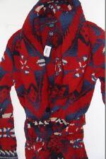 POLO Ralph Lauren Indiano Stampare Con Cintura Scialle Lana Pesante Cappotto Cardigan Small S