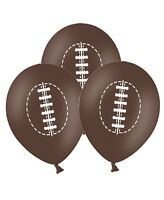 "Rugby Ball - 12"" Printed Brown Latex Balloons pack of 5 for Special Sport Fans"