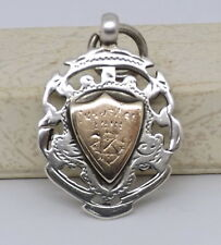 Hallmarked Silver & Rose Gold Fob Medal for Tug of War,  C.W.S.1901, Birmingham