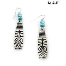 "2.5"" Long Silver Tone and Turquoise Aztec Design Dangling Hook Earrings"