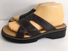 Clarks Shoes Sandals Women's Slides Brown Leather Slip On 88398