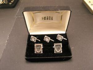 -Warrior Soldier Vintage SWANK Cuff Links & Formal Shirt Stud set tux in box r73