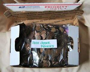 1000 Mixed Date Lincoln Memorial Pennies  1959 - 1982, 6 + lbs. 95% COPPER coins