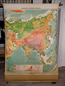 1953 DENOYER GEPPERT WALL MAP ASIA LARGE PULL DOWN POST WW2 R.B. BLAIR GOOD