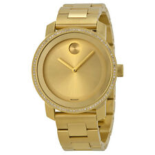 Movado Bold Diamond Gold Dial Gold Ion-plated Stainless Steel Ladies Watch