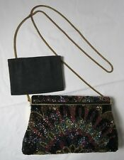 Beaded Clutch Black Purple Gold Chain Strap Wallet Pockets