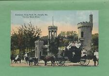 HORSE-DRAWN CARRIAGE at KRUG PARK In ST. JOSEPH, MO On Vintage 1914 Postcard