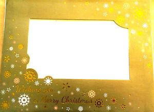 """4 CHRISTMAS PHOTO FRAME CARDS & ENVELOPE, PHOTO SIZE 4"""" X 6"""",Golden Snowflakes"""