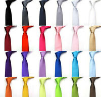 Mens Tie Fashion Solid Plain Colour Satin Formal wedding Casual Necktie