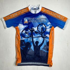 AIDS Lifecycle 11 Cycling Jersey Men's Medium 3/4 Zip Athletic Pullover Shirt