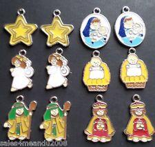 12 Enamel Nativity Religious Holiday Charms Earrings or Bracelet Making F3