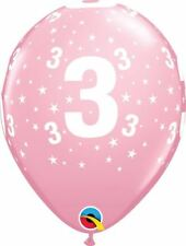 Qualatex 6 Helium/Air Latex Balloons - Age 3/3rd Birthday - Pink